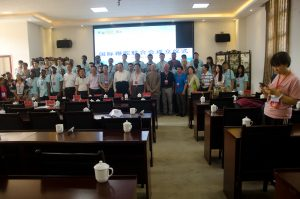Traditional group photo at Shuicheng International Gyro and Whip Competition Conference